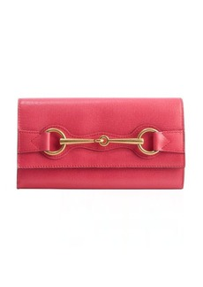 Gucci pink leather horsebit detail continental wallet