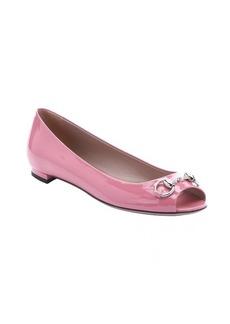 Gucci pink patent leather horsebit detail open toe ballerina flats