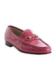 Gucci pink rose patent leather moc toe loafers
