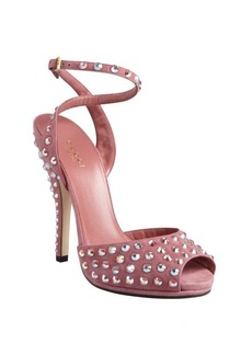 Gucci pink suede crystal embellished peep toe sandal