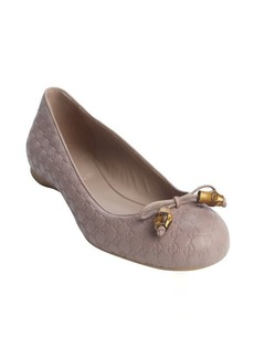 Gucci powder guccissima bow tie detail ballet flats