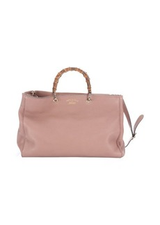 Gucci powder leather bamboo handle convertible tote