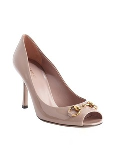 Gucci powder leather horsebit peep toe pumps