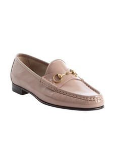 Gucci powder pink patent leather moc toe loafers