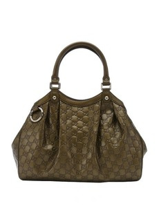 Gucci Pre-owned: olive guccissima leather 'Sukey' shoulder bag