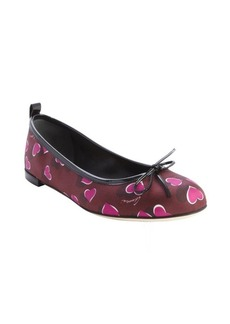 Gucci purple and red nylon heart print bow tie detail flats