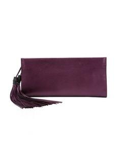 Gucci purple metallic leather 'Noveau' tassel detail clutch