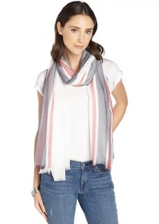 Gucci red and black cotton sheer striped printed scarf
