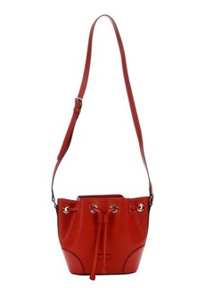 Gucci red diamante leather bucket bag