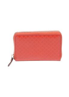 Gucci red diamante leather zip around wallet