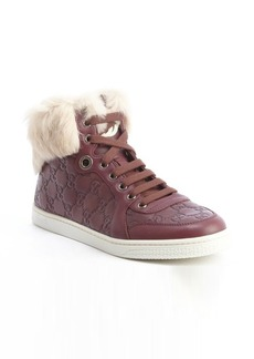Gucci red guccissima leather 'Coda' rabbit fur trimmed high top sneakers