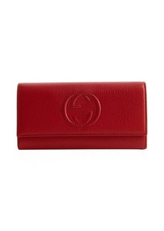 Gucci red leather GG logo snap cover continental wallet