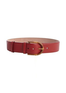 Gucci red pebbled leather bamboo buckle belt