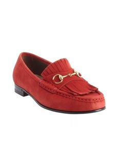Gucci red suede tassel detail slip on loafers