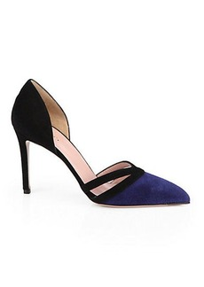 Gucci Reese Contrast Suede d'Orsay Pumps