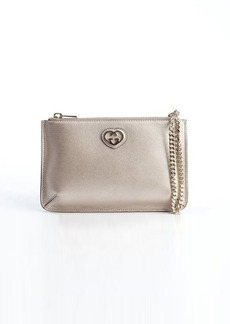 Gucci rose gold leather heart-shape GG detail cosmetic case