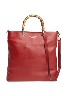 Gucci rose leather bamboo handle shopper tote