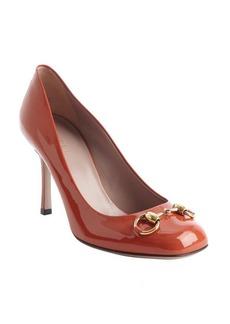 Gucci rust patent leather 'Jolene' horsebit pumps
