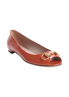 Gucci rust patent leather peep toe flats