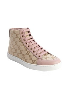 Gucci sand and pink GG printed canvas hi top sneakers