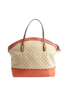 Gucci sand and rust GG canvas tote