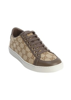 Gucci sand and taupe GG canvas leather trimmed sneakers