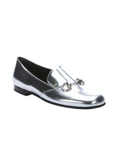 Gucci silver leather horsebit detail loafers