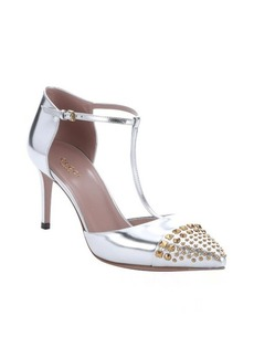 Gucci silver metallic leather t-strap studded toe pumps
