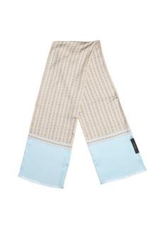 Gucci sky blue and beige multi-pattern horsebit print scarf