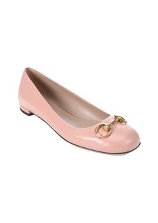 Gucci soft pink leather 'Jolene' horsebit detail flats