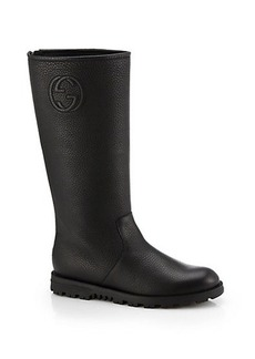 Gucci Soho Logo-Embossed Leather Boots