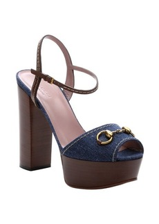 Gucci stone blue denim and nut brown leather platform sandals