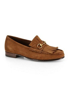 Gucci Suede Tassel-Front Loafers