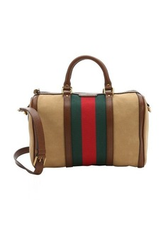 Gucci tan canvas 'Vintage Web Boston' convertible tote