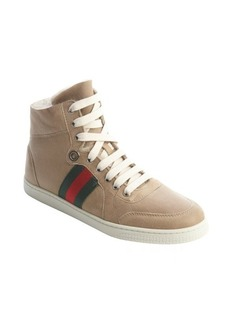 Gucci tan leather shearling accent high top sneakers