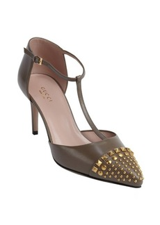 Gucci taupe leather t-strap studded pumps