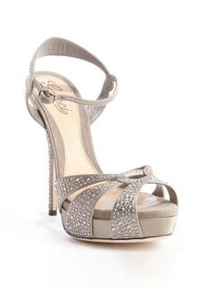 Gucci taupe satin and suede beaded detail strappy sandals