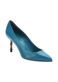 Gucci teal leather bamboo detail pumps