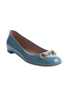 Gucci teal patent leather buckle detail flat