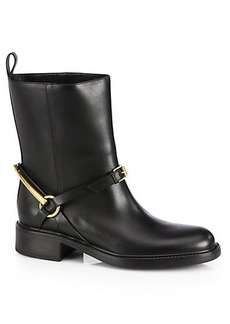 Gucci Tess Leather Horsebit Ankle Boots
