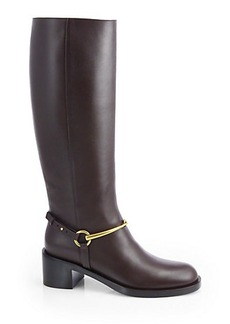 Gucci Tess Leather Horsebit Knee-High Boots