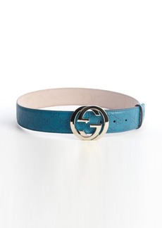 Gucci turquoise leather 'Donna' guccissima pattern GG buckle classic belt