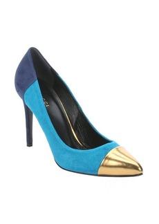 Gucci turquoise suede colorblock stiletto pumps