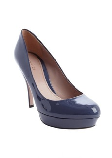 Gucci uniform blue patent leather platform pumps