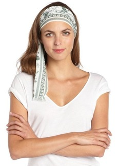 Gucci white and green cotton pattern printed head scarf