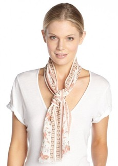 Gucci white and peach cotton pattern printed head scarf