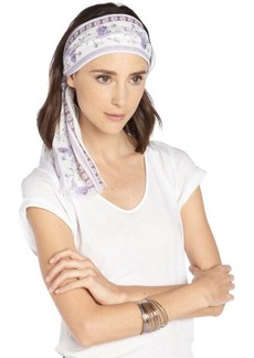 Gucci white and purple cotton pattern printed head scarf