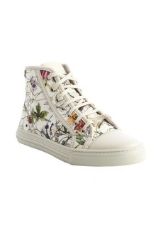 Gucci white floral canvas high-top sneakers
