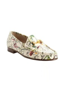 Gucci white floral printed leather slip on loafers