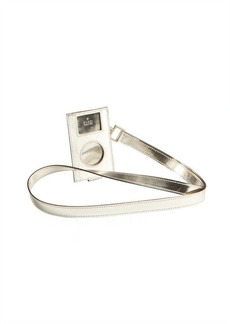 Gucci white GG plus coated canvas and silver leather iPod case